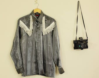 Vintage Silver Cowboy Button up Shirt Fun Blouse With Pointy Collar B