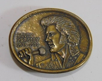 Vintage Collectible Elvis Presley Pop Rock Country Gospel Music 1970's Vintage Belt Buckle First Edition
