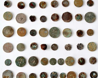 vintage coin collection, oxidized coin display,