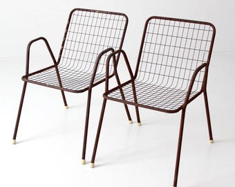 mid-century patio chairs, metal wire chairs - set of 2
