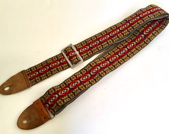 Vintage Bobby Lee Style Guitar or Bass Woven Hippie Strap 1970s 57 inches long good condition camera