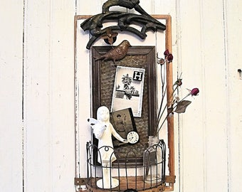 Assemblage Art Wall Shelf - Magnet Board - Vintage Chippy White Wood Panel - Iron Salvage