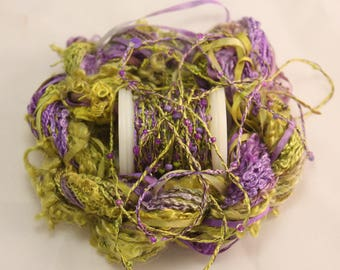 Bright purple lime green beaded yarn Silk Embroidery thread seed beads sequin thread silk ribbon Hand dyed  Embellishments