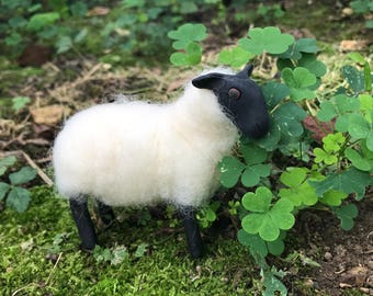 Needle felted sheep OOAK Polymer Clay Sculpture ready to ship