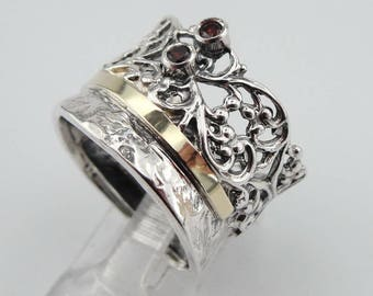 Fine garnet Ring, 925 Silver 9K Yellow  Gold  Ring, red  stone ring. Free Shipping, Israeli Jewelry, Gift size 7.5 can be resize (ms 977r
