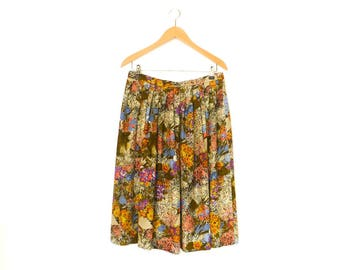 Vintage Floral Skirt / Multicolor / Lightweight / High Waisted / Midi / medium
