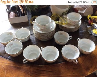 XMASinJULY Vintage Warwick china coffee/ tea mugs selling set of 10 mugs with  pink carnations gold trim partial set more pieces in the stor