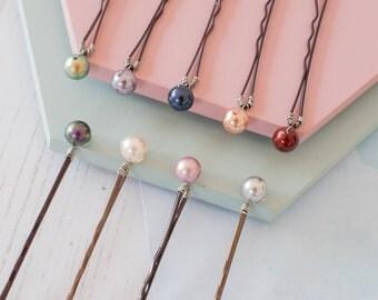 Bridesmaid Hair Pins, Coloured Hair Pins, Bridesmaid Bobby Pins, Pearl Bobby Pins, Bridesmaid Accessories, Flower Girl Hair Pins, Bobby Pins