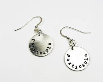 English Teacher Jewelry - Funny Grammar Earrings - Dangling Participles