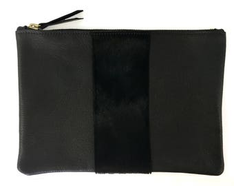 READY TO SHIP: Medium Clutch / Pouch w/hair on calf stripe (multiple colors)