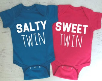 Salty Sweet for Twins or siblings Funny baby bodysuits Pick Your Colors