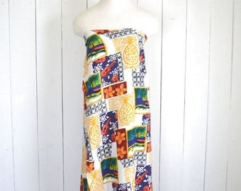 34% Off Sale - Hawaiian Wrap Skirt Dress - Vintage Pineapple Guitar Tropical Print Skirt or Dress - Early 90s Beach Cover Up - One Size Fits