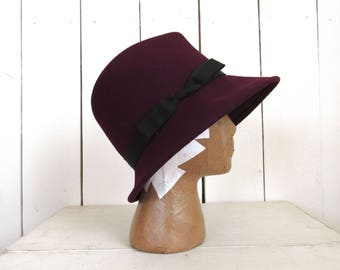 Fedora Cloche Hat - Wool Felt - Vintage Escello Bollman Hat - Dark Purple Pimp Hat - Mid Century 1960s Mod Hat - Medium M / Large L