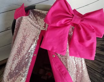 Car seat Canopy Car seat Cover Elegant Silver Sequin Shocking Pink Cover with Large bow nursing cover carseat canopy