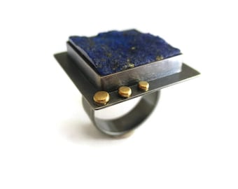 Lapis Lazuli Ring - Rough Lapis Ring - Raw Stone Ring - Silver Gold Ring - Square Stone Ring - Blue Stone Ring - Contemporary Jewelry