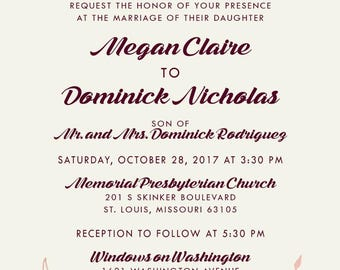 Custom Listing for MCSart, Burgundy and Rose Gold Wedding Invitation Set | Laurel Wreath Stationery | Discount Invite Suite