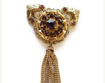 ON SALE Vintage Designer Pegasus Coro Brooch Pin Victorian Revival Amethyst Rhinestone Signed