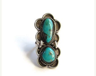 ON SALE Vintage Native American Turquoise Ring Two Stones Sterling Silver Size 6.75