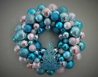 CHRISTMAS Wreath AQUA Turquoise Silver Ornament Wreath with ombre Tree