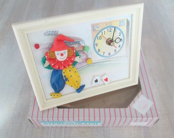 1980s Clown Clock in Box // Battery Operated Hand Made Stereograph Table Top Framed Time Piece