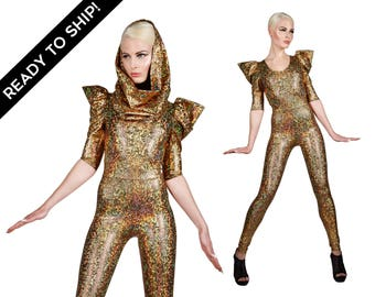 Ready To Ship! Signature Catsuit in Gold Hologram, Holographic Jumpsuit w. Hood, Burning Man, Dance Stage Wear, Music Video, by LENA QUIST