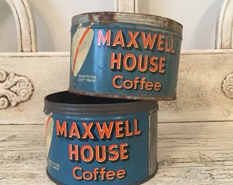 2 Vintage Coffee Tins - Maxwell House
