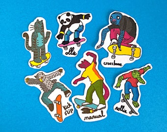 skating animals stickers