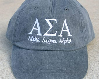 Alpha Sigma Alpha with script baseball cap