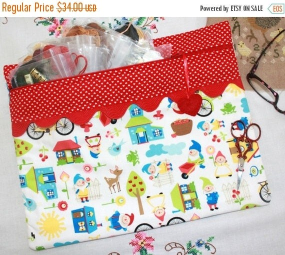 SALE I Heart Gnomes  Needlework Cross Stitch, Sewing, Embroidery Project Bag