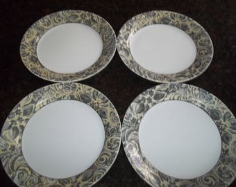 """4 Corelle Charlotte DinnerPlates 10 1/4"""", Made in the USA"""