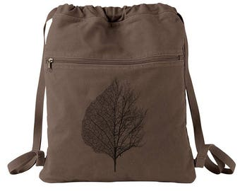 Backpack - Leaf and Tree Illustration - Screen Printed Cotton Canvas Draw String Backpack