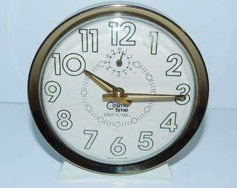 1970s Wind Up Alarm Clock Glow In Dark Numbers Cosmo Time Easy To See White Gold
