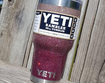 Glitter Yeti Cup Tumbler Stainless Steel 30 oz YETI Rambler Ombre Light Pink Gold to Cranberry Red