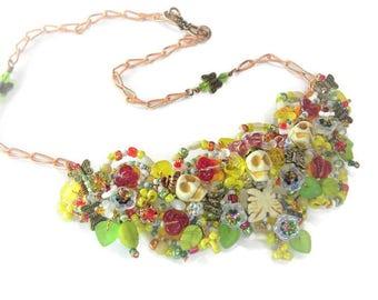 Celebration of Dia de los Muertos Necklace in Fiesta Colors, WJ126