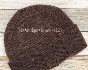 Hand Knitted Hat, Merino/Cashmere, Knit Hat, Handmade Hat, Gift Ideas, Brown Knit Hat