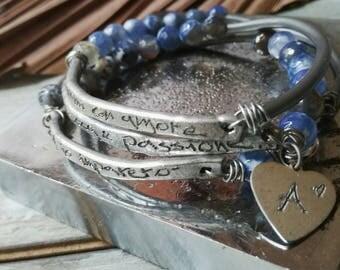 Handstamped bracelet, inspirational bangle, Beaded bracelet, personalized jewelry, multistrand bracelet, boho bracelet, zen bracelet