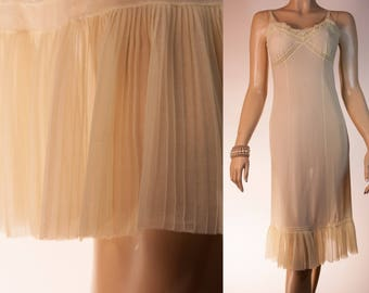 Delightfully feminine 'Margret' silky soft sheer rich lemon Perlon and sexy pleated hem detail 1950's vintage full slip petticoat - 3956