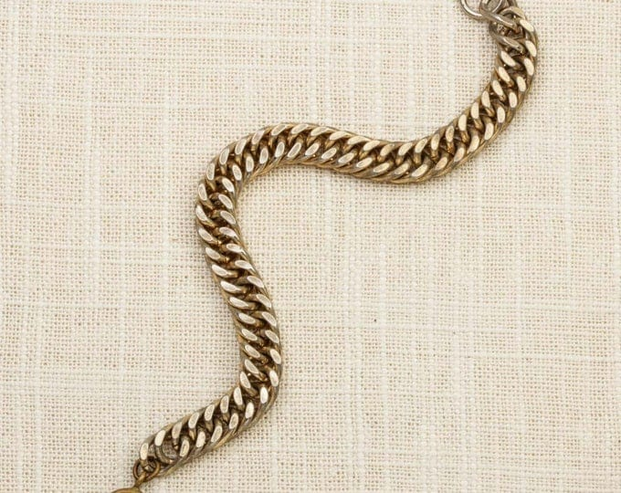 Simple Vintage Bracelet Gold Curb Chain Costume Jewelry 16S