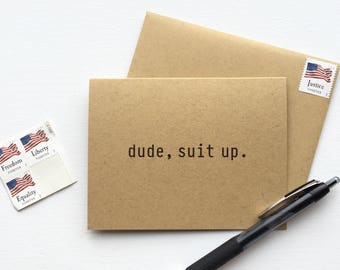 The Dude Suit Up Groomsman Invite Greeting Card - Set of 10