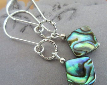 Abalone Shell Bead and Silver Metal Earrings, Abalone Earrings, Abalone Drop Earrings, Mango Tease, FREE US SHIPPING