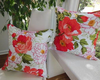 Flower Peony Pillow - Coral Pillow - Orange Pillow - Large Flower Pillow - Peony Blossoms Decorative Pillow - 22 Inch Insert Included