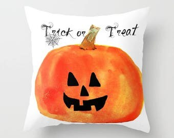 Indoor pillow cover with pillow insert, Indoor pillow cover, Trick or Treat Jack-o-Lantern Halloween pillow