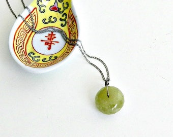 Vintage Green Garnet Pendant Necklace, Handcrafted Semi Precious Stone Necklace, Sterling Silver Chain.