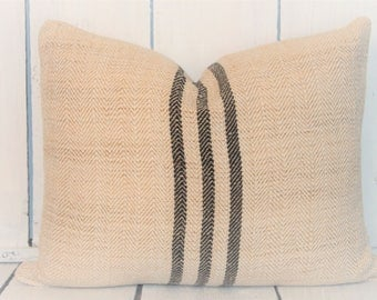 "16x20"" Authentic Grain Sack - Black Stripe"