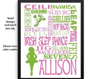 Irish dance wall art, Irish dancer, Irish Step Dance Gift, Irish gifts, Irish girl gifts, Irish dancer, celtic dance, Irish decor