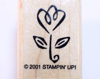 Stampin Up 2001 Whimsical Flower Wooden Rubber Stamp