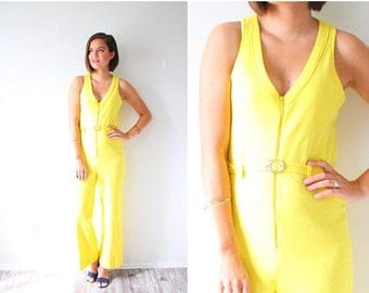 40% OFF CHRISTMAS in JULY Vintage yellow jumper dress // yellow jumpsuit // bright yellow romper // boho summer pantsuit // small overall ju