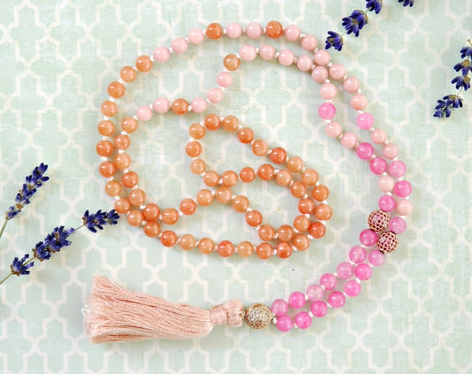 orang and pink hand knotted mala necklace, tassel necklace, boho chic, fresh summer handknotted necklace, pink and orange jade, cubic zirkon