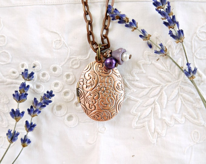 oval antique copper photo locket with purple glass charms, victorian style oval foto locket necklace, oval brass locket necklace with charms