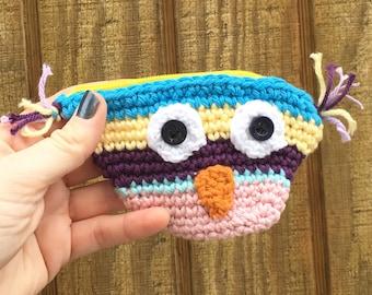 Owl Coin Purse / Zippered Purse / Crocheted Owl Purse